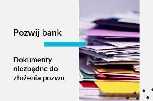 Grafika ilustrująca artykuł na temat: Pozew frankowy - od czego zacząć; Dokumenty do pozwu frankowego Sterta dokumentów. Tekst na grafice: adwokat frankowiczów, Pozwij bank. Dokumenty niezbędne do złożenia pozwu