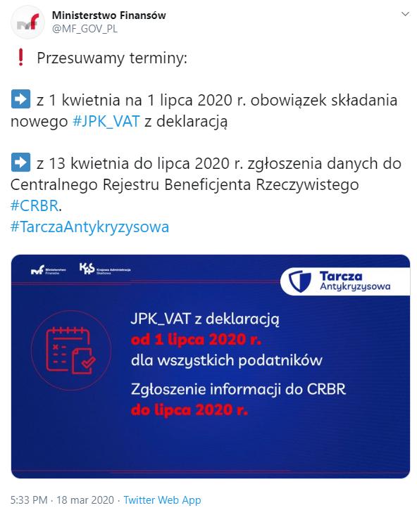 Zrzut ekranu z twittera Ministerstwa Finansów wydłużenie terminów do składania dokumentów do CRBR